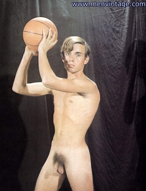 Nude boy playying with the ball